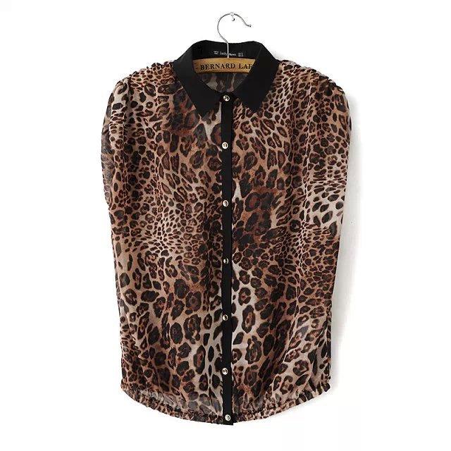 Fashion women sexy leopard print chiffon work blouse ...