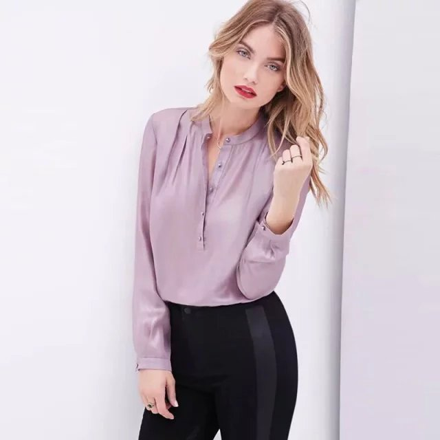 Fashion Women solid silk look satin blouses Work vintage ...