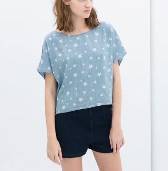 Fashion women Star Print Denim shirts short blouses ...