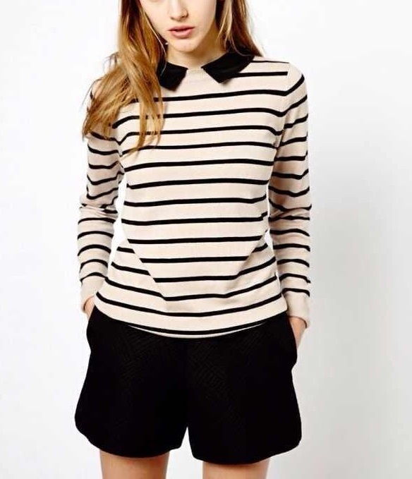 Fashion women Striped pattern Pullover knitwear Removable ...
