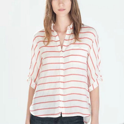 Fashion women sweet classic red striped print OL blouses ...
