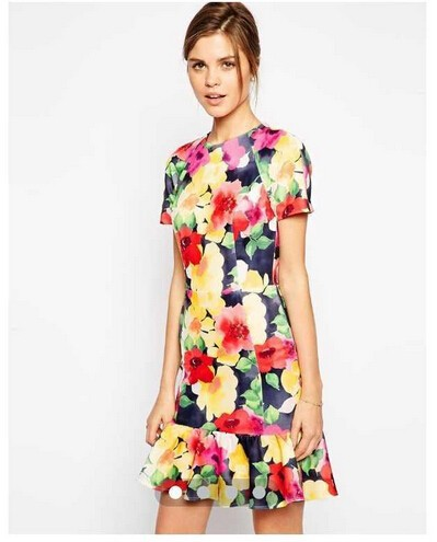 Fashion women sweet floral print dresses o neck office ...