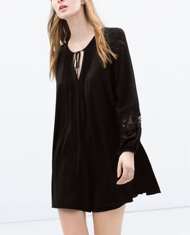 Fashion women sweet lace spliced sleeve black Dress ...
