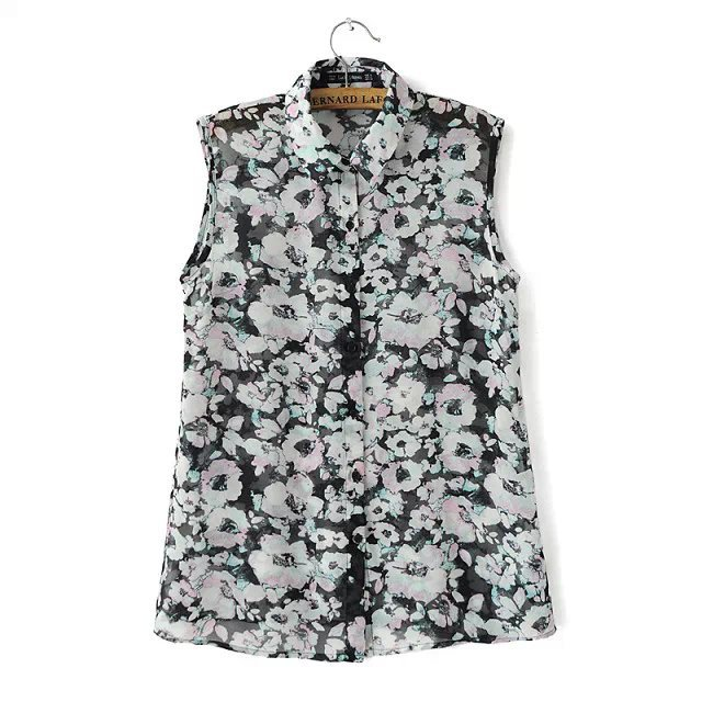 Fashion women sweet rose floral print chiffon work blouse ...