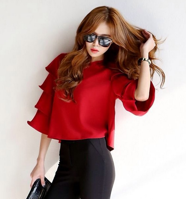 Fashion Women Sweet Ruffles Red blouses flare O neck ...
