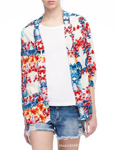 Fashion women Vintage blue red Floral Print loose kimono ...