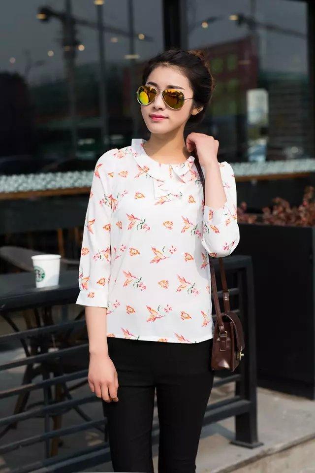 Fashion women vintage floral print blouses Peter pan ...