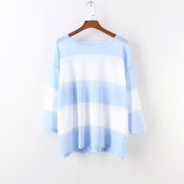 Fashion women white striped print pullover knitwear ...