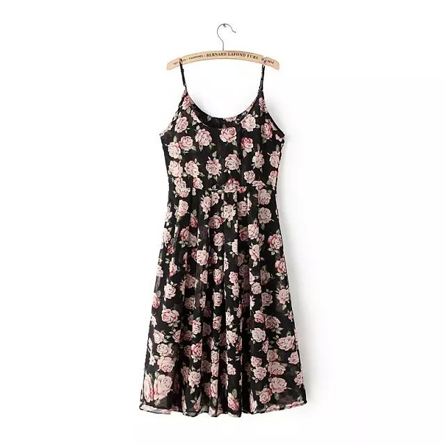 Fashion Womens Chiffon pleated Floral print Dresses ...