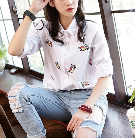 Fashion Womens Elegant Cartoon Embroidery Cotton White ...
