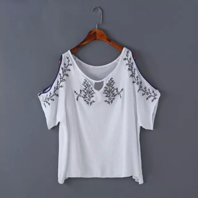 Fashion Womens Elegant cotton linen Floral embroidery ...