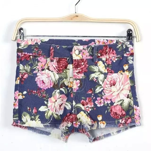 Fashion Womens Elegant Floral Print Denim Zipper pocket ...