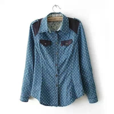 Fashion Womens Elegant polka dot Denim Turn down collar ...