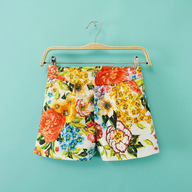 Fashion womens elegant stylish floral print shorts vintage ...