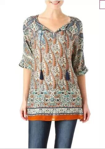 Fashion Womens Elegant Vintage Paisley Floral indian ...