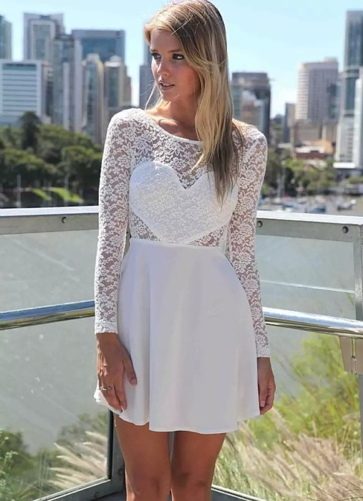 Fashion Womens Sexy Lace White Dress Vintage heart shape ...