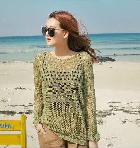 Korea Fashion women elegant Hollow out Floral Pullover ...