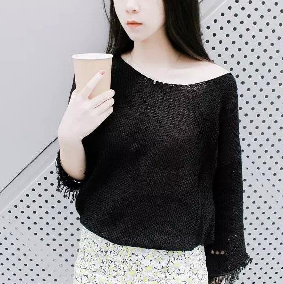 Korea Fashion women elegant tassel Pullover knitwear ...