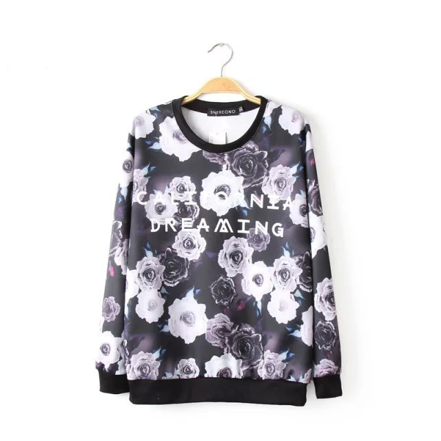 Korean style Autumn Fashion Floral printed sport pullovers ...