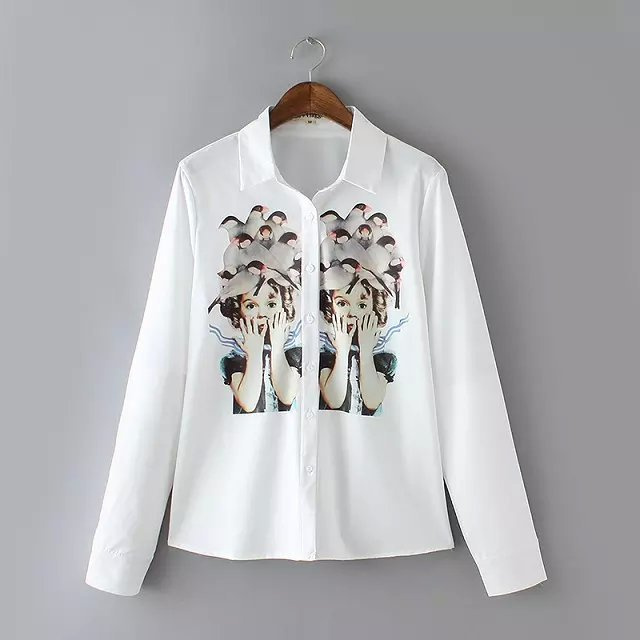New Arrival Fashion Women Autumn Birds Girl Print White ...