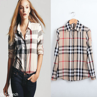 New Arrival womens' Classic Basic Plaid Blouse elegant ...