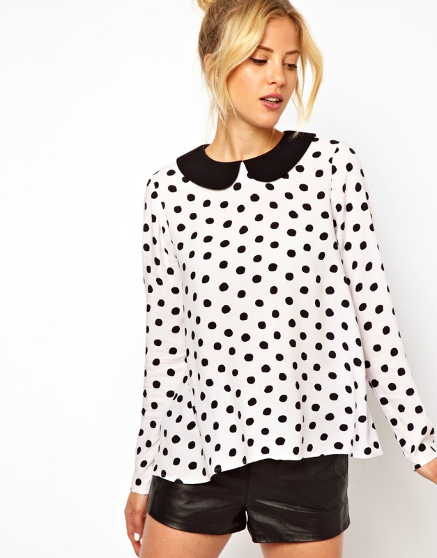 New Fashion Ladies' Classical Black & White Polka Dot ...