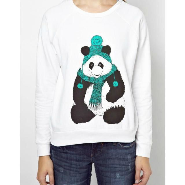 New Fashion Ladies' cute panda Pattern white sports ...