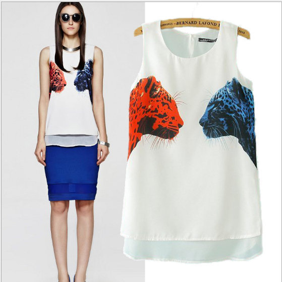 New Fashion Ladies' elegant animals print white T shirt ...