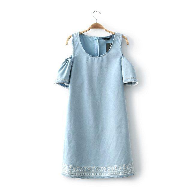 New Fashion Ladies' elegant blue denim embrodiery Dress ...