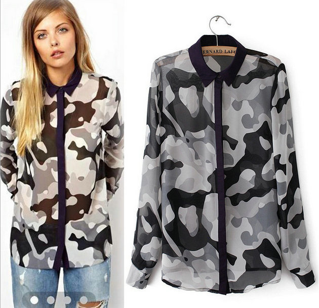 New Fashion Ladies' elegant camouflage print chiffon ...