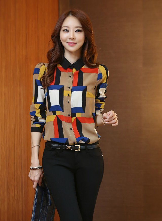 New Fashion Ladies' elegant colorful plaid print blouses ...