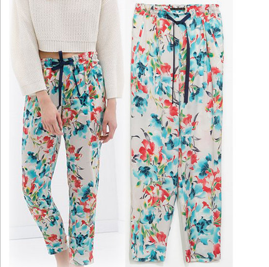 New Fashion Ladies' elegant print Pants Skinny europe ...