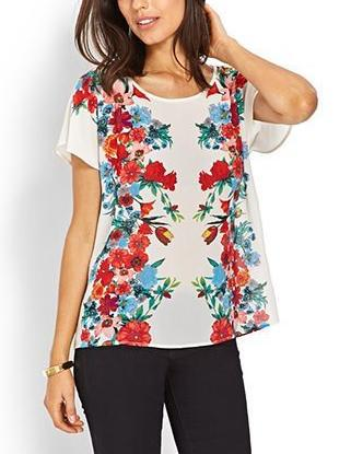 New Fashion Ladies' elegant white floral print T-shirts ...