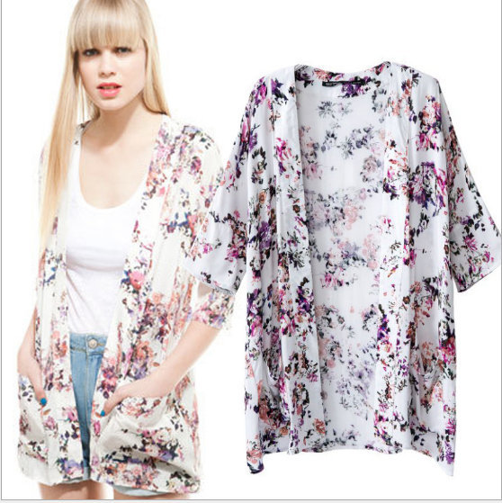 New Fashion Ladies' flower print Phoenix Pattern loose ...