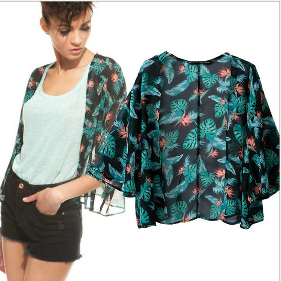 New Fashion Ladies' green flower print Phoenix Pattern ...