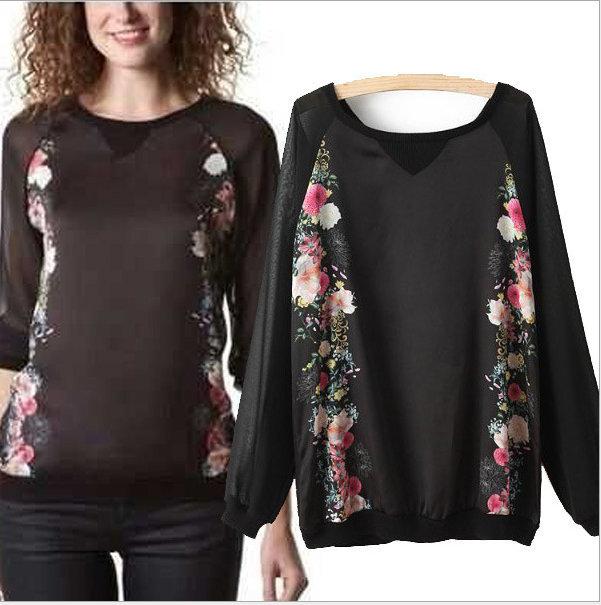 New Fashion Ladies' vintage floral bird print black ...