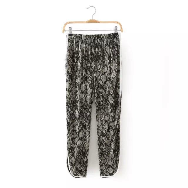new Fashion women Chiffon Snake print pants elegant ...