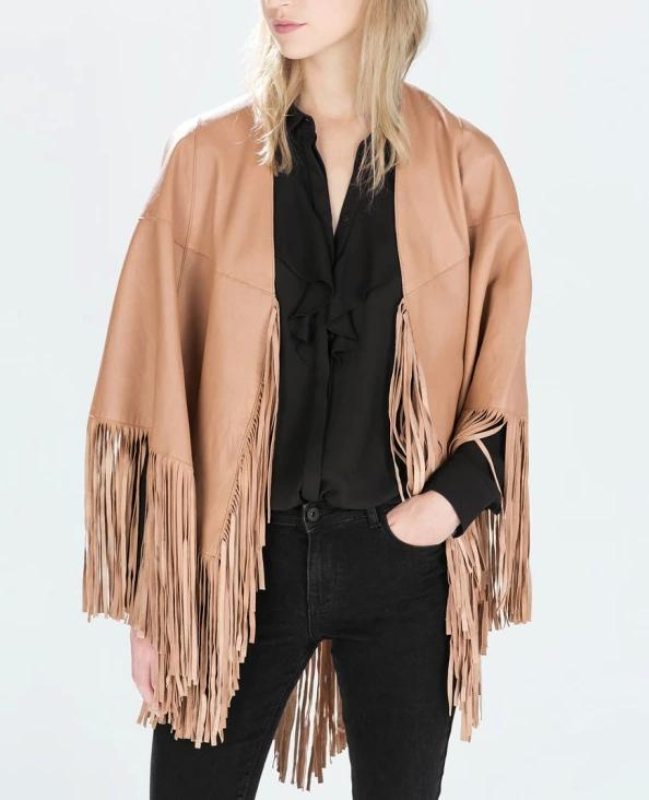 New Fashion Women Elegant Cloak Tassel pocket Leather ...
