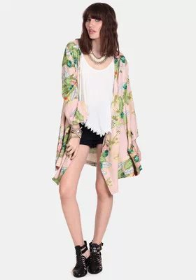 New Fashion women elegant floral leaves print Kimono ...