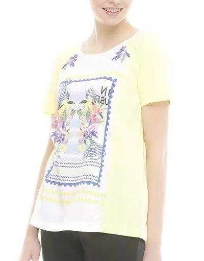 New Fashion Women Elegant Floral Print Yellow T shirt ...