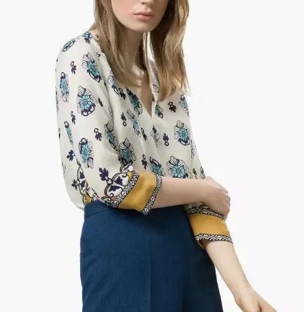 New Fashion Women floral Print V-Neck Blouses Satin ...