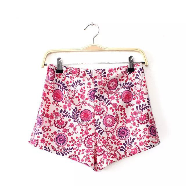 New Fashion women sweet red floral print shorts zipper ...