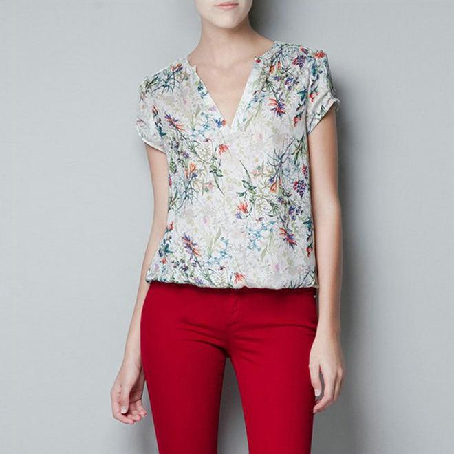 new fashion womens' chiffion OL flower print blouse ...