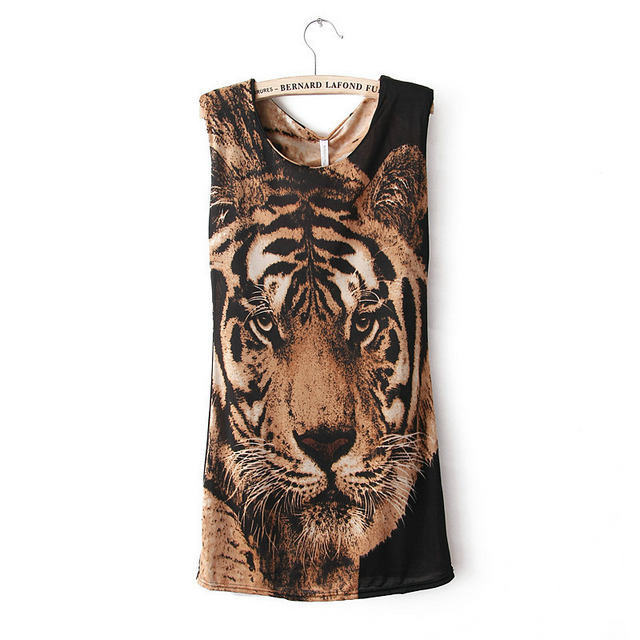 New Fashion womens' cool wild tiger print O-neck sleeveless ...
