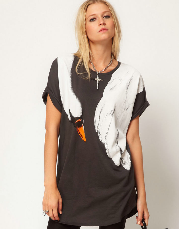 New fashion womens' elegant Swan & Fox print t-shirt ...