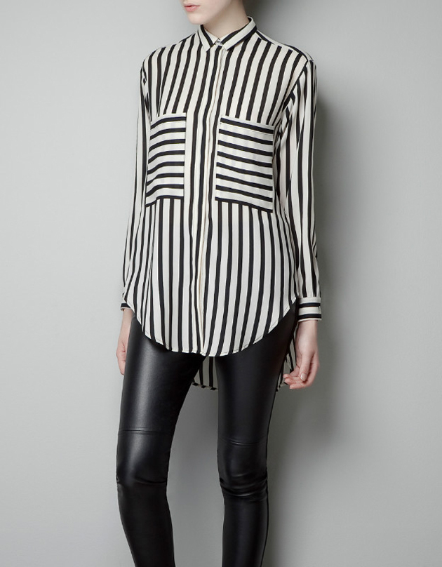 New fashion womens' OL classic beige black Striped blouse ...