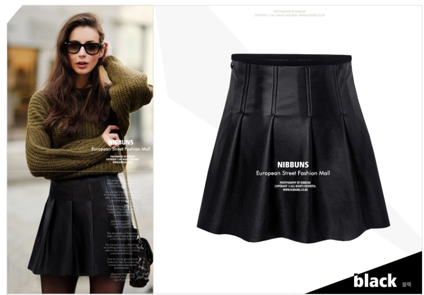 new fashion womens' rivet PU Leather Ruffles Pleated ...