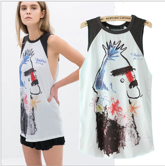 New summer Fashion Ladies' elegant print T shirt vest ...