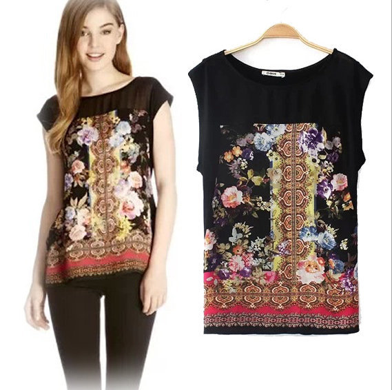 New summer Fashion Ladies' rose flower print tank O ...