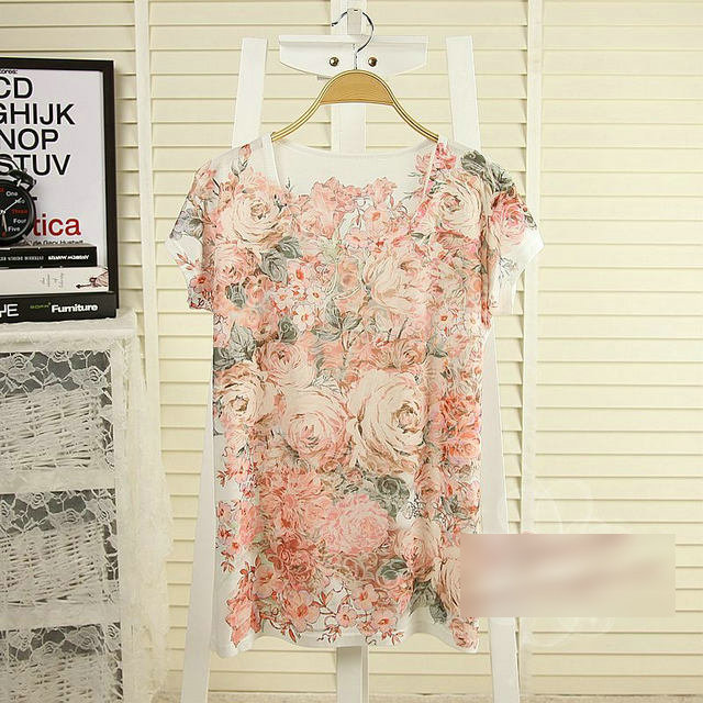 New summer Fashion Ladies' sweet rose print T shirt ...